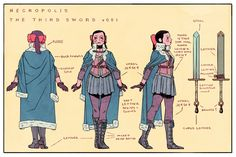 Turnarounds of the Third Sword! I really needed to nail down the details of her uniform for the comic. PLUS, a few people asked me about cosplay (Im ALL ABOUT THAT please send me photos) and wanted costume specs.