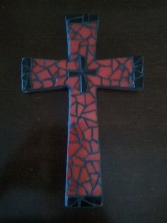 Red and Black Mosaic Cross on Etsy, $32.00