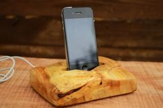 Wooden iPhone dock Solid wood iPhone station Poplar by WoodRestart