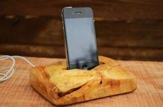 Wooden iPhone dock Solid wood iPhone station Poplar by WoodRestart