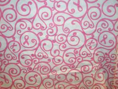 "Breast Cancer Awareness Pink Ribbon and Scroll with White Background Cotton Fabric 1/2 Yard Cotton 45"" Wide"