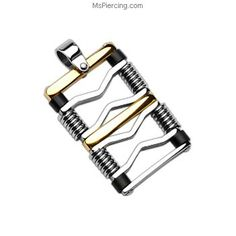316L Stainless Steel Gold and Black Square Pendant #mspiercing #piercings