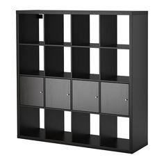 KALLAX Shelf unit with 4 inserts, black-brown black-brown 57 7/8x57 7/8