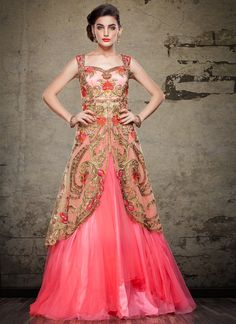 An perfect pink net floor length gown will make you appear very stylish and graceful. Beautified with cutdana, embroidered, kasab and resham work all synchronized properly through the trend and style ...
