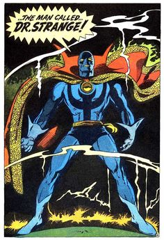 """panels-of-interest: """" First appearance of Doctor Strange's Blue Mage costume. [from Doctor Strange """" Comic Book Pages, Comic Book Artists, Comic Books Art, Comic Art, Old Comics, Dc Comics Art, Superhero Characters, Comic Book Characters, Jack Kirby Art"""