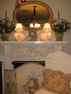 Fireplace Makeover . Fireplace Screen . rosevinecottage.blogspot.com