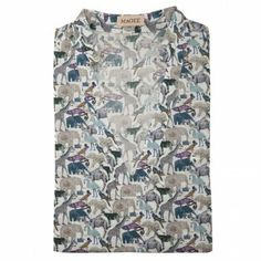 A gorgeous #Liberty print top, with a safari animal design. The style is a loose fitting v-neck top with 3/4 length sleeves.