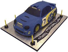 3D rally car blue -celebration - birthday cake