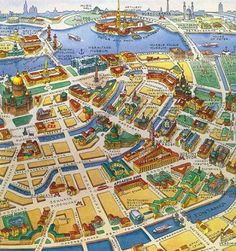 Map of St. Petersburg, Russia, beautiful colors, clear and nice perspective! St Pétersbourg Rússie, Baltic Sea Cruise, Ukraine, Tourist Map, St Petersburg Russia, Travel Illustration, Most Beautiful Cities, City Maps, Travel Posters
