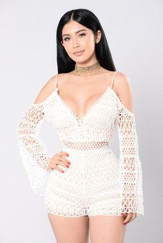 All Day In Crochet Romper - White