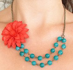 Flower Necklace Teal Jewelry Statement Necklace Teal by zafirenia