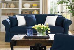 New Sure Fit Twill Supreme 2 Pc Sofa Slipcover Sapphire Cottage Lodge Cabin #SureFit #Traditional