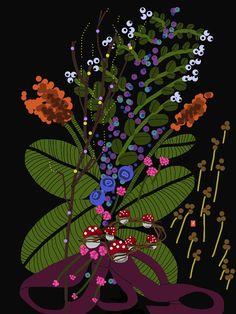 Botanical Illustration Black Background Art by LisaRydinErickson