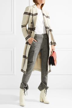 By Malene Birger | Gritt double-breasted plaid brushed-felt coat | NET-A-PORTER.COM
