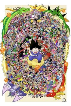 Christopher Cayco is an illustrator and artist who figured sure, why the hell not, let's put every single character from Dragon Ball, Dragon Ball Z, Dragon Ball Super and Dragon Ball GT in a single drawing. Dragon Ball Gt, Dragon Ball Image, Rick And Morty, All Poster, Poster Prints, Posters, Journey To The West, Marionette, Fanart