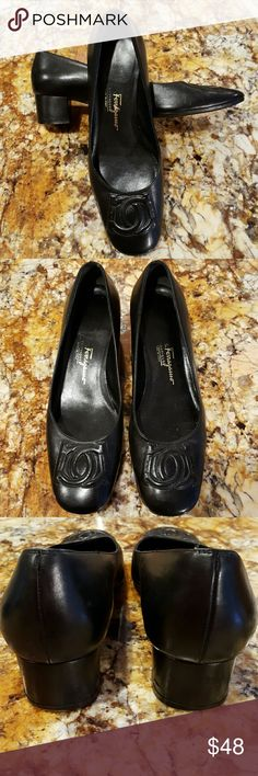 """Salvatore Ferragamo Boutique low logo pumps Excellent condition, unique vintage Salvatore Ferragamo 1 1/2"""" pumps with logo embossed design on toe. Really comfortable. Cute dressed up or down. I had front toe area resoled...So now non-slip. Made in Italy. Salvatore Ferragamo Shoes Heels"""