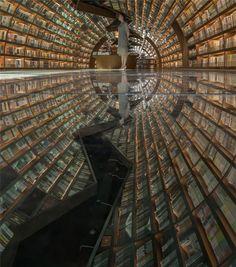 Tunnel bookshop in Shanghai https://www.dezeen.com/2016/07/09/yangzhou-zhongshuge-bookshop-yangzhou-china-xl-muse-li-xiang-tunnel-books/