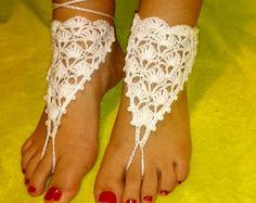 Barefoot Sandals Beach Wedding Sandals Crochet by CrochetMonkie