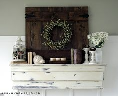 Shelf/Mantle Display-like the added texture/dimension of the wood background. Would be pretty over my stone wall