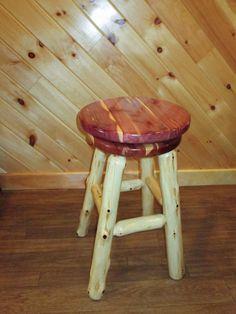 Red Cedar Log Bar Stool with Swivel Seat - counter height - Counter Height - in. Log Bar Stools, Bar Stools With Backs, Counter Bar Stools, Swivel Bar Stools, Rustic Log Furniture, Bar Furniture, Cedar Log, Red Cedar, Dining Room Bar
