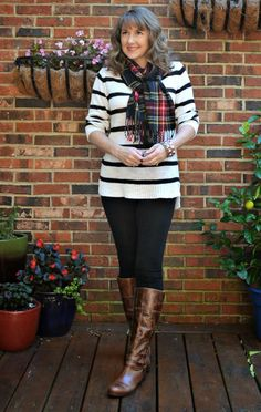 plaid, stripe, pattern mixing, fall, boots