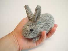 These little guys will hop right off your needles in no time at all. Knit in the round, they are made entirely in one piece except for the legs, which are seamed to the bottom. Designed to be the baby for my Henry's Rabbit pattern.