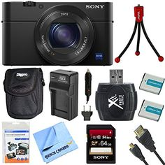 Sony DSC-RX100M4 DSC-RX100M4/B DSC-RX100MIV RX100M4 RX100MIV Cyber-shot l20.1 MP Camera Bundle includes Camera, 64GB SDXC Memory Card, Carrying Case, Mini Tripod, 2 Batteries, Charger,   More *** Click image for more details.