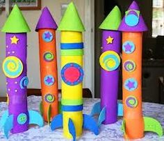 Rocket ship crafts and other cool ideas using paper towel rolls!!!