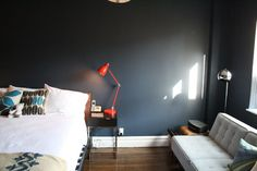 Love this color when it gets natural light. Benjamin Moore Mysterious, AF-565. #paint #apartment