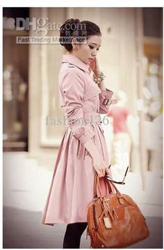 Wholesale Trench Coats - Buy 2013 Modern Korean Slim Lapel Double-breasted with Belt Solid Color Long Sleeve Ladies Trench Coats, $44.5 | DHgate