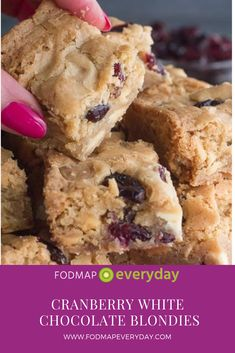 Some folks think that blondies are brownies poor cousin. Nothing could be further than the truth, especially when they are flavor packed with white chocolate (low FODMAP at 15 g servings), like our Low FODMAP Cranberry White Chocolate Blondies. Fodmap Dessert Recipe, Fodmap Recipes, Fodmap Foods, Fodmap Diet, Gluten Free Desserts, Easy Desserts, Healthier Desserts, White Chocolate Blondies, Snack Recipes