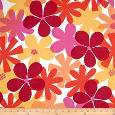 Designed for Michael Miller Fabrics, this cotton print includes colors of orange, fuchsia, lemon yellow and red on a white background. Use for quilting and craft projects as well as apparel and home décor accents.
