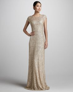 Sequined Cap-Sleeve Gown - David Meister Signature ( Formal Gown Long Gold Metallic Embellishments Synthetic-blend Evening dress Sequins Shortsleeves)