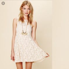 Nwt Free People Miles Of Lace Fit And Flare Dress.