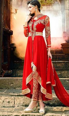 Flaunt away your inspiring looks to your daily looks with this red color embroidered silk pant style suit. Beautiful patch, resham and stones work in course of dress is awe-inspiring. #redpantsuit #designerdress #pantstylesuit