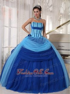 Modest Blue Quinceanera Dress Strapless Tulle Beading Ball Gown  www.fashionos.com  This stunning blue quinceanera ball gown features a slight sweetheart strapless neckline on a full ball gown silhouette accented with an embroidered bodice. The beaded bodice was decorated with flowers, and the outlayer tulle in the skirt draw more interest to this part. Take this dress away and you will be the unique one.
