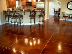 Love the idea of stained concrete flooring. Maybe in a darker color.