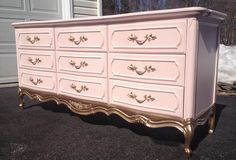 15 Gorgeous Painted Dresser Ideas- pink and gold French provincial dresser makeover
