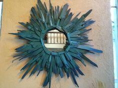 Haint Blue Sunburst mirror by CEDARSTACKER on Etsy