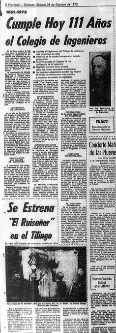 Cumple hoy 111 años el Colegio de Ingenieros. Publicado el 28 de octubre de 1972.