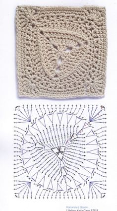 Crochet Squares, Crochet Square Patterns, Crochet Diagram, Crochet Chart, Crochet Stitches, Motifs Granny Square, Stitch Box, Crochet Table Runner, Vintage Knitting