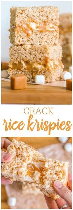 Crack Rice Krispies - yes they're addicting! {Crack Rice Krispies - yes they're addicting! {lilluna} A gooey marshmallow caramel middle drizzled with yummy chocolate! Rice Crispy Treats, Krispie Treats, Yummy Treats, Sweet Treats, Yummy Food, Rice Crispy Bars, Rice Krispy Treats Recipe, Köstliche Desserts, Dessert Recipes