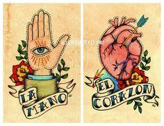 Old School Tattoo Art Prints Loteria LA MANO & El CORAZON 5 x 7 or 8 x 10 Set
