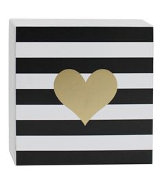 Valentine's Day Word Block-Gold Heart In Black Stripes