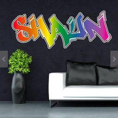 Personalized / Customized Name Graffiti Wall Decals Stickers Mural Printed Bright Colours Adhesive Childrens Wall Decals, 3d Wall Decals, Wall Stickers, Wall Murals, Graffiti Names, Graffiti Wall, Graffiti Designs, Graffiti Styles, Personalized Wall Decals
