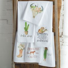 Down Home Kitchen Collection- Western icons and fun sayings make this collection of flour sack towels and wooden coasters the perfect gift.