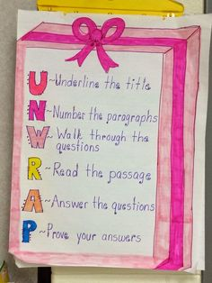 UNWRAP anchor chart- reading comprehension strategy