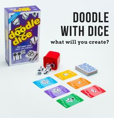 Are you ready for competitive doodling? With DICE??? Yes, you'll be drawing with dice, trying to make more doodles than your opponents. You'll also be stealing doodles from other players or blocking their turn or getting extra dice for your drawing. There's a wide array of cards and ways to draw them. Think fast and draw faster to win this unique visual perception game!
