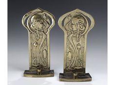 Agnes Bankier Harvey (1873-1947) - Wall Sconces. Repousséd Brass. Glasgow, Scotland. Circa 1900. Each Sconce: 30cm