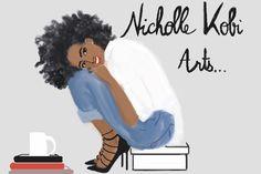 Love Books, drawing , coffee sometimes The , sometimes Fashion Black Girl Art, Black Women Art, Black Women Fashion, Black Girl Magic, Black Girls, Art Girl, Natural Hair Art, Black Artwork, Afro Art